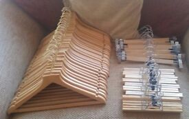 50 WOODEN COAT HANGERS - ALL ADULT SIZE