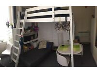 Real Wood IKEA STORA Double Loft Bed High Sleeper Cabin Bunk Mezzannine