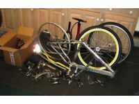 Assortment of mountain bike parts inc Haro frame, wheels, P2 forks etc.