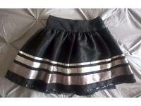 Age 3-4 Black skirt with satin ribbon and chiffon underskirt