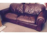 2 Seater & 3/4 Seater Brown Leather Sofas