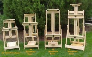 handmade wooden artists easels made in Canada. studio easel, multi media easel, field easel, display easel watercolor