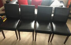 4 x black dining chairs faux leather wood
