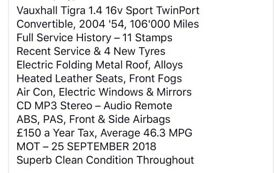 Vauxhall tigra 1.4