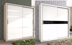 **MANY COLOURS** NEW Great Quality 2 Sliding Door Wardrobe White / Black and Oak / White