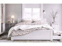 IKEA BRUSALI - Full bedroom for sale (Frame, mattress, wardrobe, chest of drawers, table, hanger)
