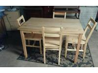 Brand new pine table & 4 chairs