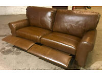 Brand New Heart of House Salisbury 3 Seater Recliner Leather Sofa - Tan