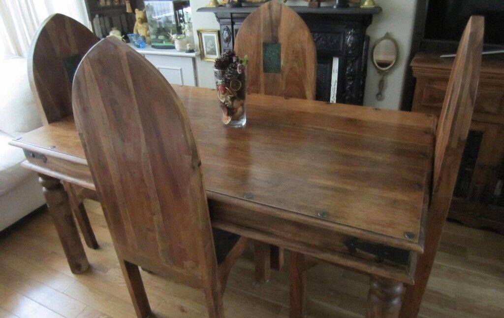 Large Solid Wood Gothic Dining Table And Chairs