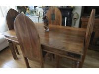 Large Solid Wood Gothic Dining Table and Chairs.