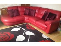 Red real leather sofa