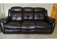 3 seater brown leather sofa - recliner
