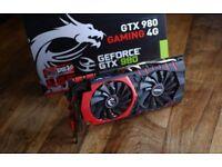 MSI GTX 980 GAMING 4GB GDDR5 256bit High end GPU (perfect condition)