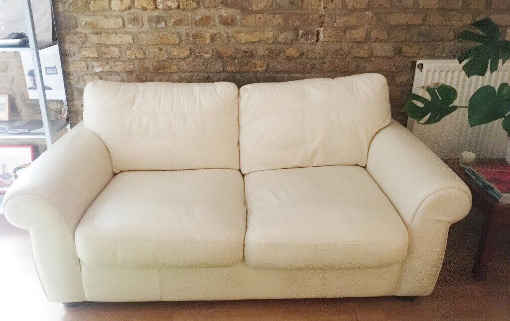 White Leather Sofa John Lewis | In Camberwell, London | Gumtree