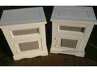 Pair of shabby chic pine Bedside cabinets