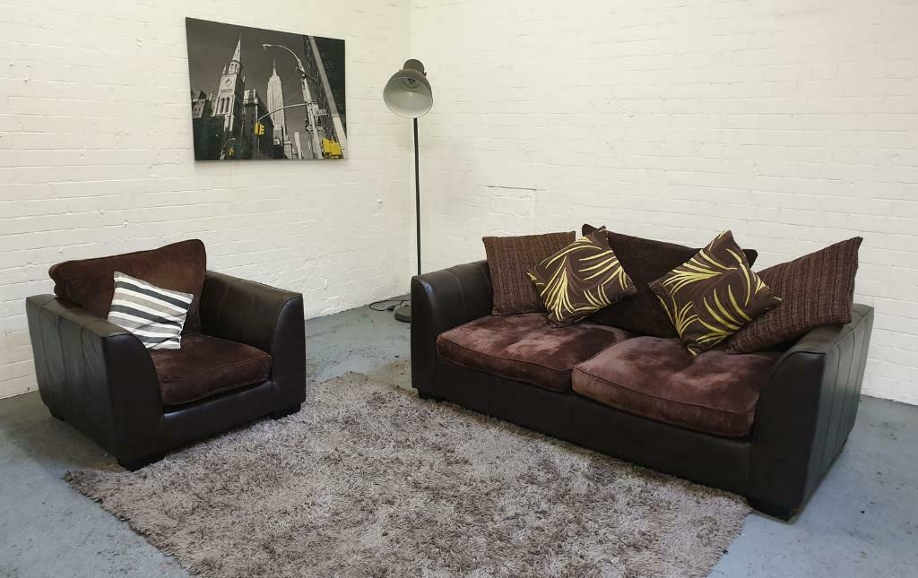Remarkable Half Leather And Half Fabric 3 Seater Sofa Bed And Armchair Sofa Set In Luton Bedfordshire Gumtree Machost Co Dining Chair Design Ideas Machostcouk