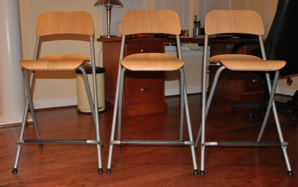 Ikea 6 X Franklin Folding Bar Stools With Backrest