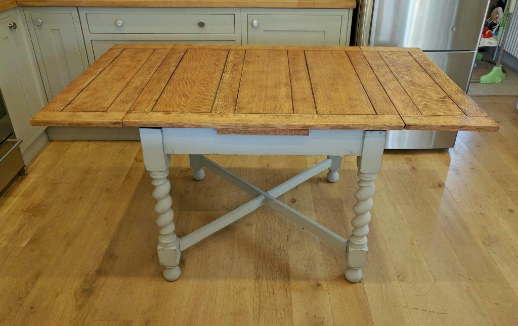 Solid oak 1940s barley twist draw leaf table dining table for Oak kitchen table with leaf