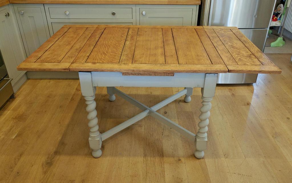 Solid Oak 1940s Barley Twist Draw Leaf Table Dining Kitchen Extending