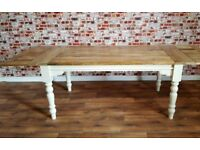 Rustic Extending Painted Turned Leg Farmhouse Dining Kitchen Table - 5.5ft-8.5ft