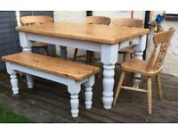 FARMHOUSE TABLE AND CHAIRS +BENCH