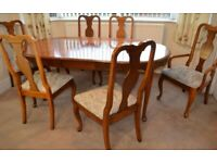American Lifestyle oval dining table & 6 upholstered Queen Anne style High back chairs