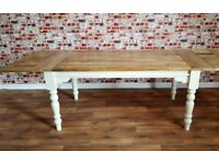 Turned Leg Painted Finish - Seats up 12 Rustic Extendable Farmhouse Kitchen Dining Table