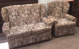 WING BACK 2 SEATER SOFA & MATCHING ARMCHAIR