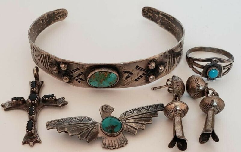 Nice Older Native American Sterling Silver Estate Jewelry Lot
