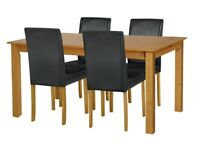 EX DISPLAY Argos Home Ashdon Solid Wood Table & 4 Mid Back Chairs - Blk