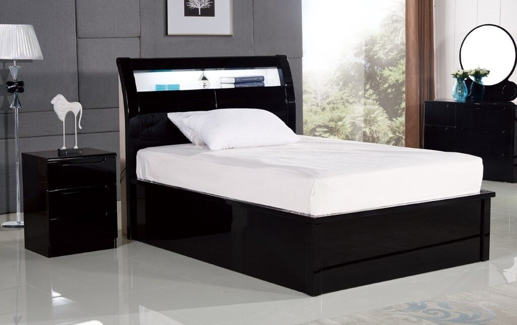 BRAND NEW BLACK & WHITE HIGH GLOSS OTTOMAN STORAGE BED FRAMES WITH ...