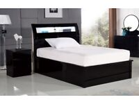 554b3ccd338 BRAND NEW BLACK   WHITE HIGH GLOSS OTTOMAN STORAGE BED FRAMES WITH LED LIGHT  + SOLID
