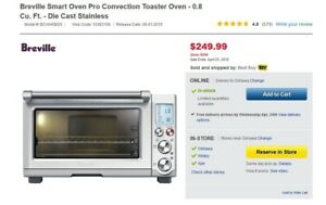 Berville  Smart Oven Pro Convection Toaster Oven NIB