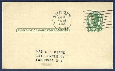 US Postal Card UX28 Lincoln 1 Green From Buffalo, New York 1946 - $4.00