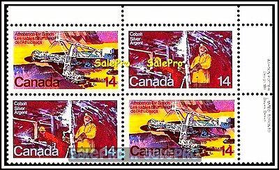 CANADA 1978 COBALT SILVER MINING MINT FACE 56 CENT MNH STAMP SET CORNER BLOCK
