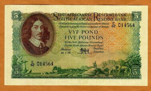 South Africa, 5 Pounds, 1958 P-97c, VF > 62 years old, Sailboat