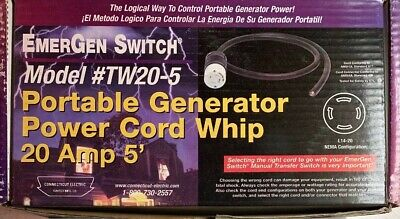 Connecticut Electric Emergen Switch 5ft Power Cord Set 20- Amps Generator Rv