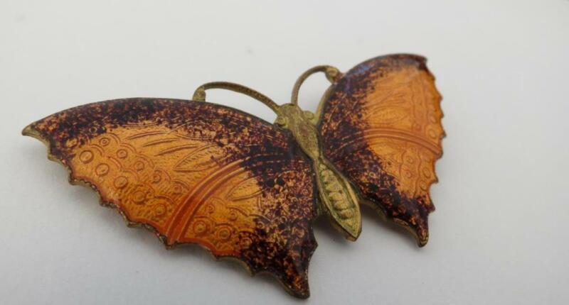 Vintage Gold Tone Orange & Brown Enameled Butterfly Brooch Pin