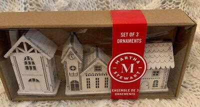 Martha Stewart Wooden Advent Town Village Soft White Ornaments 3