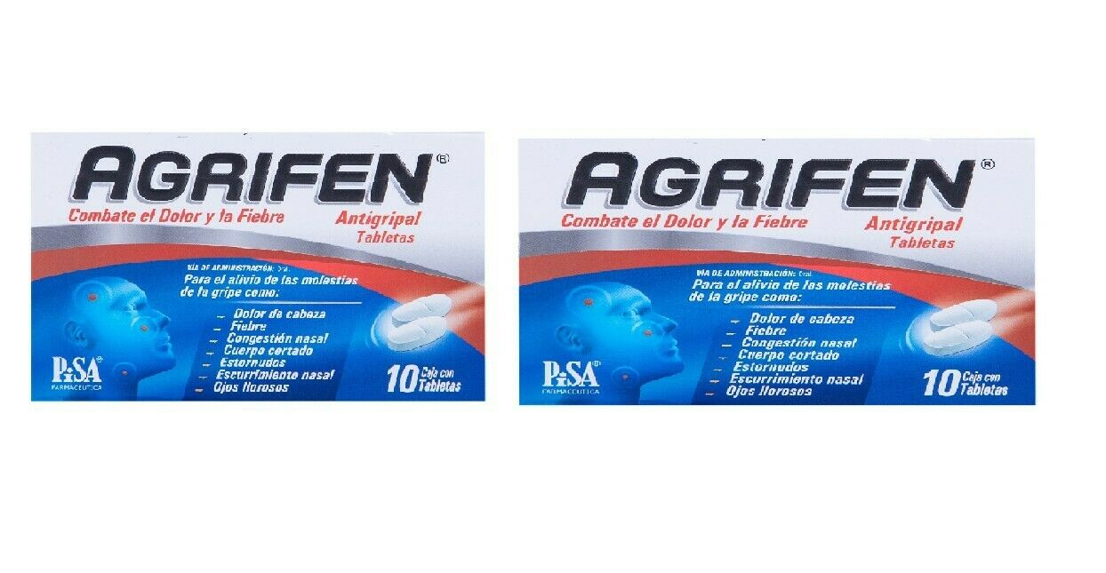 2 pack Agrifen - Antigripal dolor de cabeza - against flu - 10 tables each box