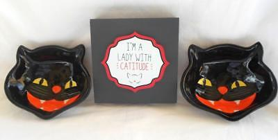 Halloween 3pc Cat Bowl And Cat Wooden Sign Lady With Catitude Desk Sitter Decor