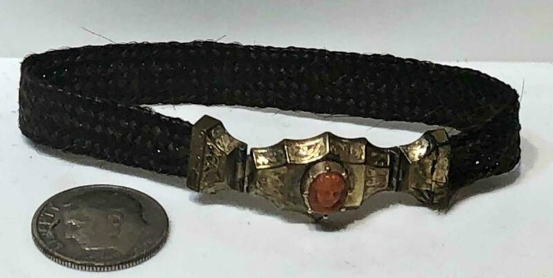 Antique Georgian or Victorian Hair Mourning Bracelet with Coral Cameo Clasp