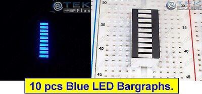 10x Blue Led Bargraph 10-segs Black Face For Arduino Led Vu Audio Meter - Usa