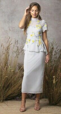 Asos Hope & Ivy grey and yellow high neck embroiderd pencil dress size 10