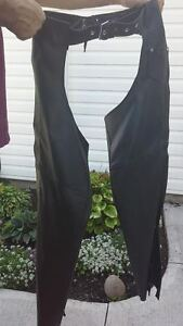 Ladies motorcycle chaps and boots.