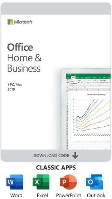 GENUINE Microsoft Office Home And Business 2019, 1 Device, Windows 10 PC/Mac