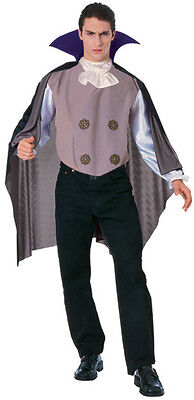 Mens Classic Vampire Costume Scary Vamp Outfit Medallion Dracula Count Adult NEW (Scary Mens Costumes)