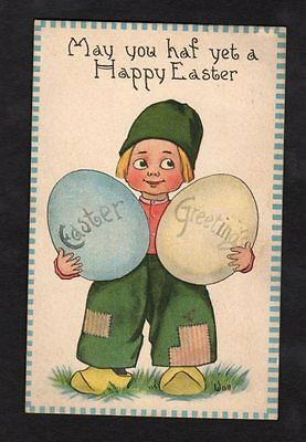 Signed Wall Easter Postcard charming Dutch boy holding oversized colored eggs. (Oversized Easter Eggs)