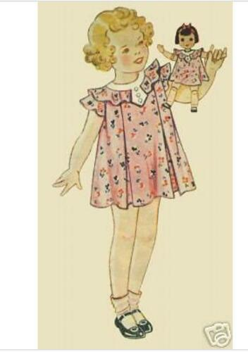 Set of Five Antique Doll Dress Patterns from 1930s