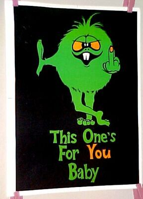 Vintage Black Light THIS ONES FOR YOU BABY Finger SMALL Poster